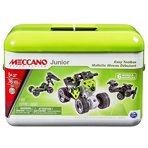 Meccano Junior - Easy Toolbox, 6 Model Building Set, 76 Pieces, For Ages 5+, STEM Construction Education (Erector Toys)
