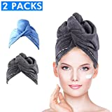 Microfiber Hair Towel Wrap Turban, Duomishu Super Absorbent Anti-Frizz Turbie Twist Hair Drying Cap for Curly, Long & Thick Hair, 2 Pack (Blue/Grey)