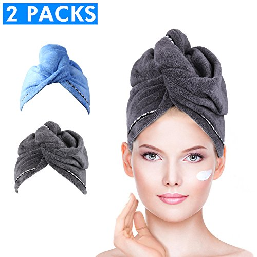 Microfiber Hair Towel Wrap Turban, Duomishu Super Absorbent Anti-Frizz Hair Drying Towels Cap for Curly, Long and Thick Hair, 2 Pack (Blue/Grey)