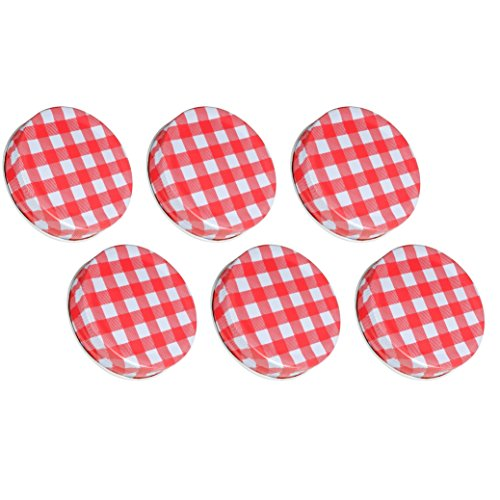 Sunshine Mason Co, One Piece Mason Jar Lids 6 Pieces, Red Gingham