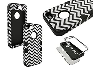 IPHONE 5 CHEVRON CASE, Nue Design Cases TM Plastic Silicone Hybrid Black Chevron Pattern Case iPhone 5/5s wangjiang maoyi