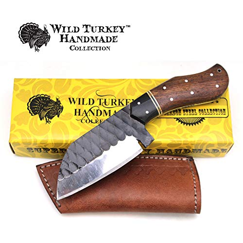 Wild Turkey Handmade Collection Full Tang High Carbon Steel Fixed Blade Knife w/Leather Sheath -