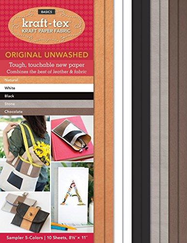 kraft-tex Sampler 5-Colors Original Unwashed: Kraft Paper Fabric, 10-Sheets 8.5