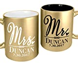 Mr Mrs Soon to Be Married Gold Engraved Coffee Mugs Tea Cup for Bride to Be, Newly Engaged, Marriage Announcement Future Mrs Gift Just Engaged Groom Bride Present Mug Wedding Favors for Wedding Party