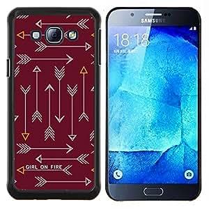 Flecha Fuego Texto Texto Castaño Castaño- Metal de aluminio y de plástico duro Caja del teléfono - Negro - Samsung Galaxy A8 / SM-A800