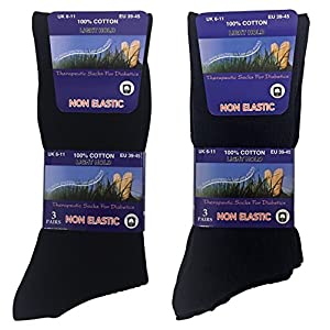 6 Pack Mens 100% Cotton Non Binding Loose Top Lightweight Ribbed Dress Socks (7-12 US, TSFD03)