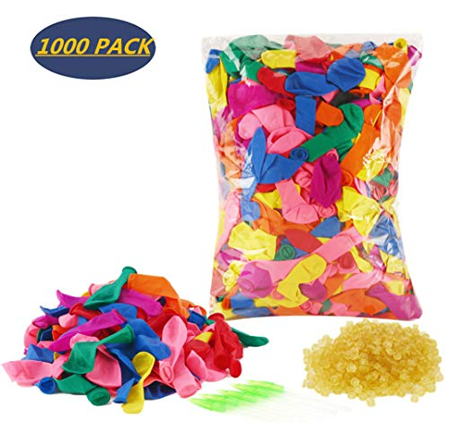 Supoice Water Balloons Refill Kits 1000 Pack & Rubber Bands + 5 Refill Tools Colorful Latex Water Fight Games Sports Summer Splash Fun for Kids & Adults