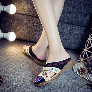 LTQ&QING new-Chaussures brod¨¦es, semelle tendineuse, style ethnique, flip flop f¨¦minin, mode, confortable, sandales d¨¦contract¨¦es, black, 42 flip flop fšŠminin sandales dšŠcontractšŠes