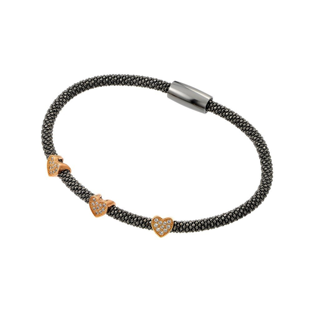 CloseoutWarehouse Three Clear Cubic Zirconia Hearts Bracelet Black Rhodium And Rose Gold-Tone Plated Sterling Silver