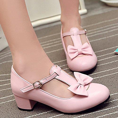 MissSaSa Damen T-Steg Schleife Leder-Pumps Pink