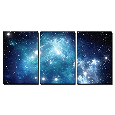 3 Piece Canvas Wall Art - Shades of Blue Glaxy in a Sea of Stars - Modern Home Art Stretched and Framed Ready to Hang - 24