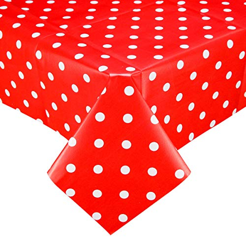 PVC Plastic Oilcloth Tablecloth Vinyl Peva Wipeable Spillproof Waterproof Tablecloths for Picnic Banquet Birthday Oblong Red and White Polka Dot 54x78 Inch
