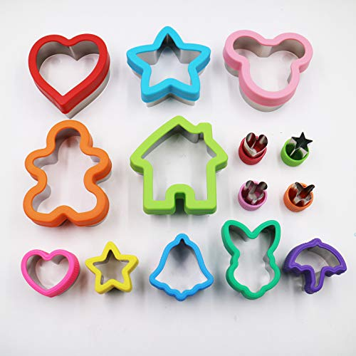 Verdant Life Co. 14pc Sandwich Cutters for Kids –Shape Bread, Cookies, Fruits, Vegetables, Cheese into Snack bites - Family Bento Box Lunch Accessories - Fun Kids Shapes - Easter Cookie ()