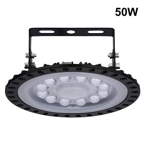 UFO Iluminación LED, Sararoom 50W Lampara Industrial Ultra Delgada LED Lámpara de Alta Bahía 6000-6500K Impermeable IP67 para Almacén Garaje Fábrica ...