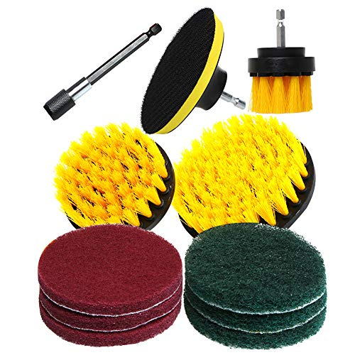 QUIENKITCH SET/12Piece Drill Brush & Scrub Pads, Power Drill Scrub Brush Attachments with Drill bit Extender for Grout, Tiles, Sinks, Bathtub, Bathroom, Shower & Kitchen Surface by QUIENKITCH (Image #1)