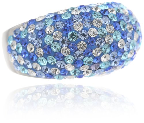 (Sterling Silver Blue Tone Crystal Cluster Ring, Size)