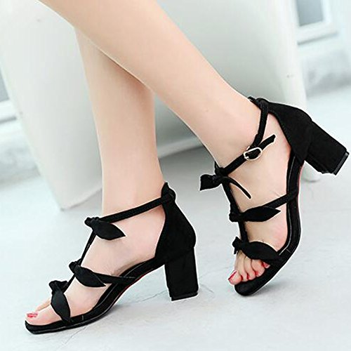 Easemax Womens Sexy Faux Suede Gladiator Bows Knots Ankle Buckle Strap Open Toe Mid Chunky Heel Sandals Black OSjC7KPV