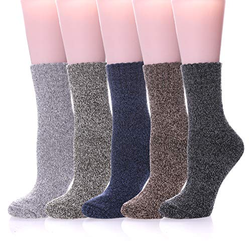 Womens 5 Pairs Thick Soft Solid Color Knit Wool Warm Crew Winter Socks (5 Pairs Solid Color)