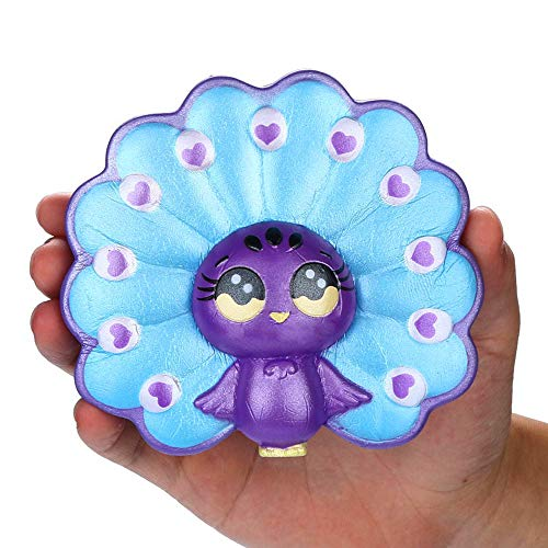 Stress Reliever Toys, 1 PC Squishies Adorable Cartoon Peacock Slow Rising Fruit Scented Stress Relief Toy 2019 New (B) ()
