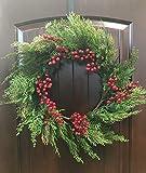 KK 24 Inch Diameter Mixed Cedar Wreath with Red Berries