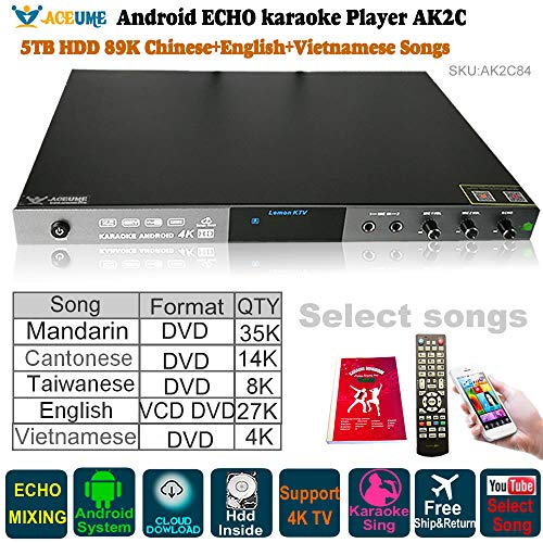 5TB HDD 89K Chinese,English,Vietnamese Songs, Android Karaoke Player,Jukebox,Free Cloud Download,Microphone Port, ECHO Mixer,Home KTV Sing,YOUTUBÊ Songs selected. Watch TV,KODI,Songbook,Remote Control ()