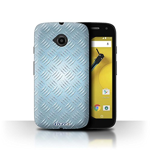 Coque de Stuff4 / Coque pour Motorola Moto E (2015) / Bleu Design / Motif en Métal en Relief Collection