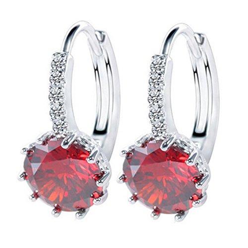 fonk: CZ Crystal Earrings Platinum Plated Simple Zirconia Geometry Rhinestone Party Earring Brincos