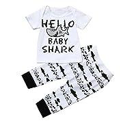 Memela Baby Boys Girls Matching Clothing Set, 2pcs Shark Print Layette Set Tops+ Pants 0-24 Months Spring/Summer (18-24 Months)