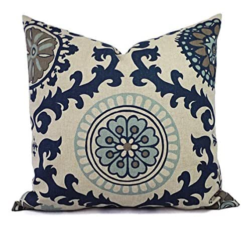 Decorative Floral Pillow Covers : Amazon.com: Dark Blue and Beige Floral Pillow Shams - Navy Pillow Covers - Linen Pillow Cases ...