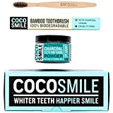 vegan Activated Charcoal Teeth Whitening Powder With Bamboo Toothbrush |100% Natural, Vegan & Cruelty Free Charcoal Teeth Whitening| 3.17 oz | CocoSmile