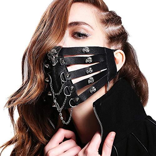 Devil Fashion Men Women Steam Punk Skeleton Mask Gothic Halloween Party Rivet Leather