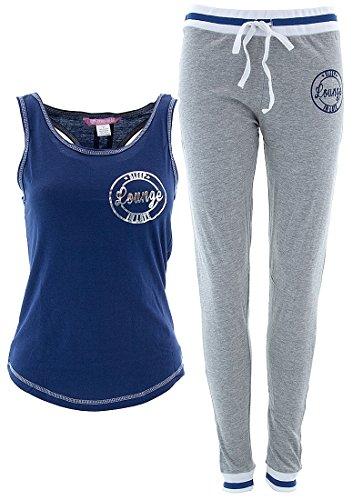 Love Loungewear Women's Blue Cotton Sleep In Late Pajamas