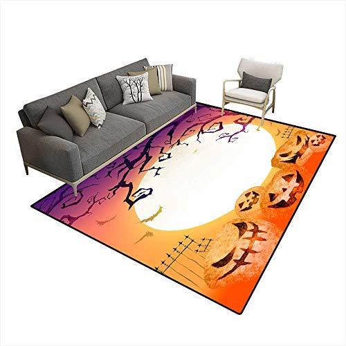 Room Home Bedroom Carpet Floor Mat Halloween Background 5'x6'