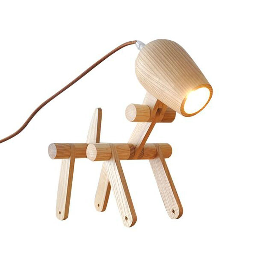 HOMEE Simple creative fashion woody table lamp solid wood study bedroom bedside lamp decoration child puppy reading light