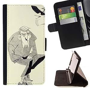 BullDog Case - FOR/LG OPTIMUS L90 / - / MAN MOUSTACHE HITLER ART DRAWING PENCIL /- Monedero de cuero de la PU Llevar cubierta de la caja con el ID Credit Card Slots Flip funda de cuer