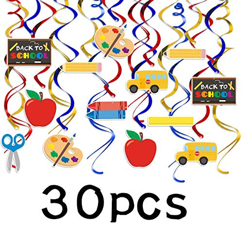 Back to School Hanging Swirl Decorations and Welcome Banner for Classroom Decor First Day of School Teacher Gift,Back to School Theme Party. (First Day Back To School Teacher Gift)