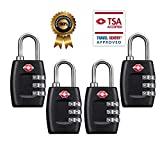 TSA Luggage Locks (4Pack) - 3 Digit Combination Padlocks - Approved Travel Lock for Suitcases & Baggage (Black)