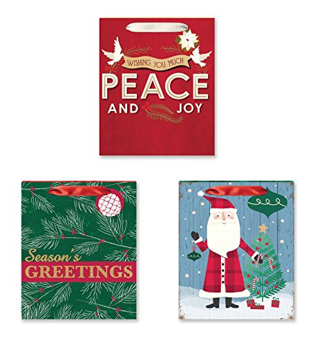 3 Pack of Large Christmas Gift Bags Xmas Giftbags - Traditional & Folk Designs w/ Foil & Glitter Finishes on Each Bag!