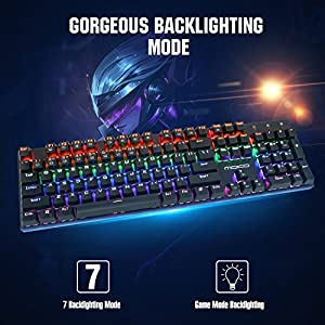 MoKo Mechanical Gaming Keyboard with Blue Switches, 9 Colors Preset LED Backlit Keyboard with 104 Keys, USB Wired Keyboard with Anti-ghosting Keys for PC Laptop Computer, Black