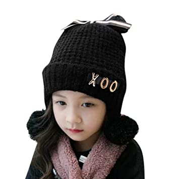 Amazon.com   Baby Boy Winter Warm Knitted Earflap Hat Clearance Sale -  Iuhan Toddler Girl Boy Baby Bowknot Crochet Knit Hat Beanie Hairball  Earflap Cap ... b86e61cd9bf