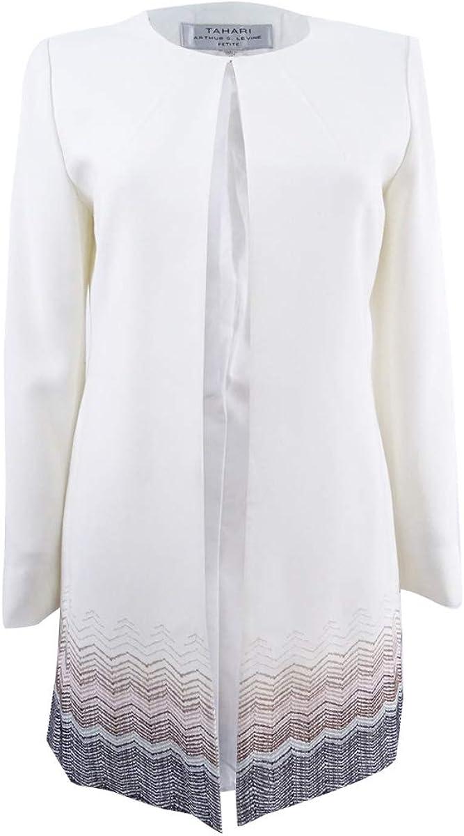 Tahari ASL Womens Plus Size Printed Ponte Knit Jacket