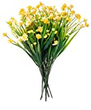 Red Co. Faux Floral Bouquet, Artificial Fake Greenery Flowers for Home and Outdoor Garden Decor, 6 Single Picks, Spring Yellow