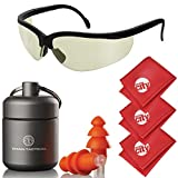 Titan Tactical Eyes + Ear Protection Kit w/29NRR Reusable Shooting Ear Plugs + Mil-Spec Tinted Range Ballistic Glasses (for Normal + Small Ear Canals)