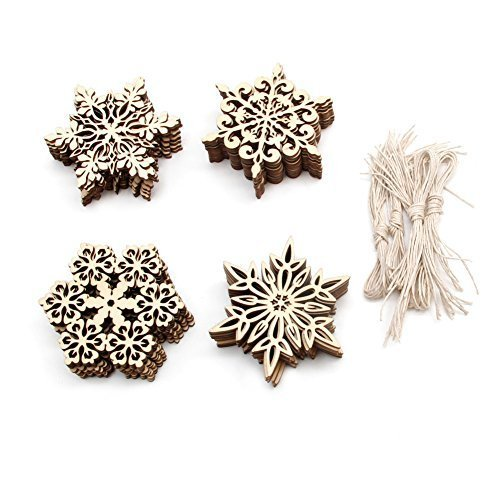 Zadaro Wooden Snowflake ornaments Hanging Tags Gift Embellishments for Christmas Tree Ornament Decorations 40pcs