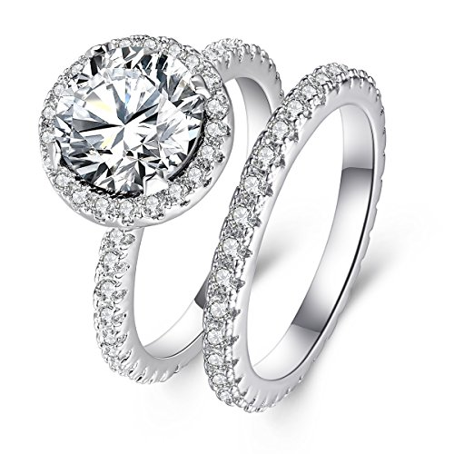 (3 Carat Round CZ Solitaire Ring Set for Women, Halo Style White Gold Plated Size 5)