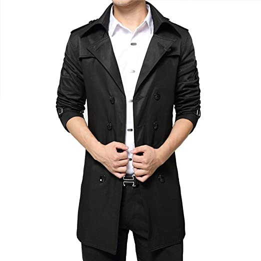 f40e732a4e Vobaga Men's Double Breasted Slim Fit Windbreaker Long Jacket Trench Coat  Belted Overcoat Outwear Black S