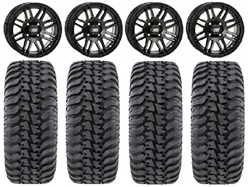 "Bundle - 9 Items: ITP SS316 14"" Wheels Black Ops 28"" Regulator Tires [4x115 Bolt Pattern 10mmx1.25 Lug Kit]"