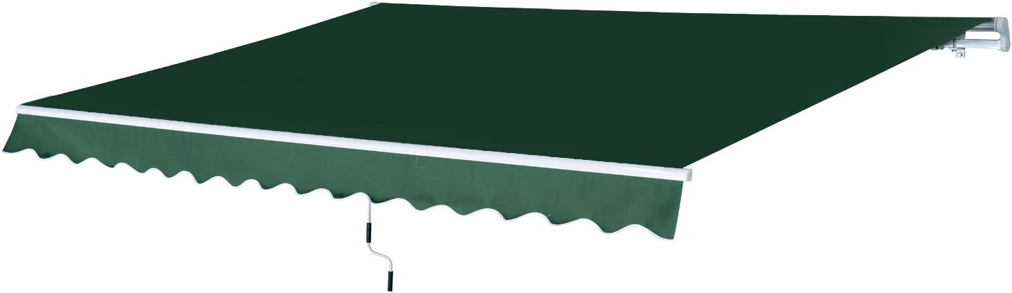 Outsunny 12 x 8.2 Outdoor Patio Manual Retractable Exterior Window Awning – Green