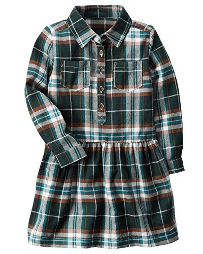 (Carter's Girls Plaid Drop-Waist Dress, 5T, Green)