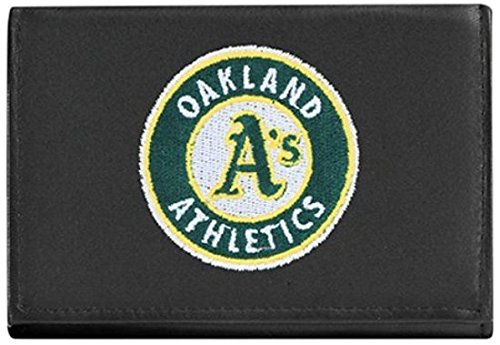 (MLB Oakland Athletics Embroidered Genuine Cowhide Leather Trifold Wallet)